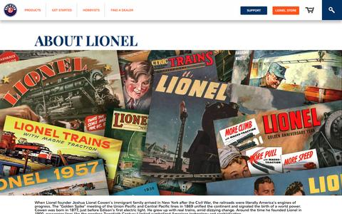 Screenshot of About Page lionel.com - Lionel Corporation: Train Stuff from the Lionel Train Company - captured Sept. 5, 2016
