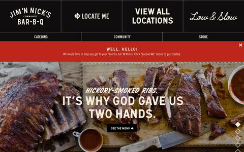 Screenshot of Home Page jimnnicks.com - Jim 'N Nick's BBQ Restaurant | World Class Bar-B-Q - captured Sept. 24, 2014