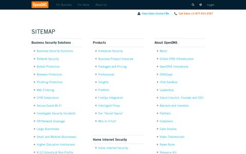 Screenshot of Site Map Page opendns.com - Sitemap | OpenDNS - captured July 20, 2014