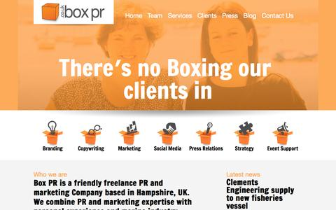 Screenshot of Home Page boxpr.co.uk - Box PR - captured Sept. 30, 2014