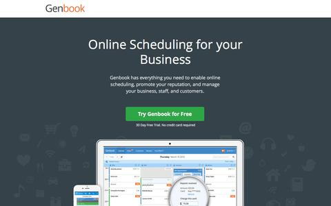 Screenshot of Landing Page genbook.com - Online Scheduling Software : Genbook - captured Feb. 16, 2016