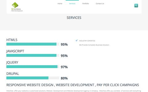 Screenshot of Services Page hitechies.com - Website development , Responsive Website Design - captured Oct. 29, 2014