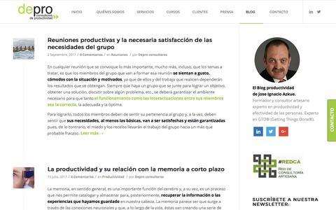 Screenshot of Blog deproconsultores.com - El Blog de la productividad personal, efectividad y GTD - captured Sept. 7, 2017