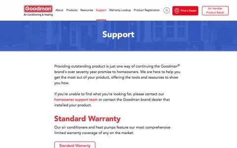 Screenshot of Support Page goodmanmfg.com - Get Support For Goodman Manufacturing Products - captured March 22, 2018