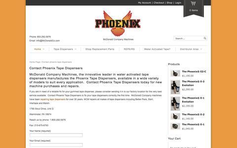 Screenshot of Contact Page phoenixtapers.com - Contact Phoenix Tape Dispensers | Phoenix Tapers - captured Nov. 3, 2014
