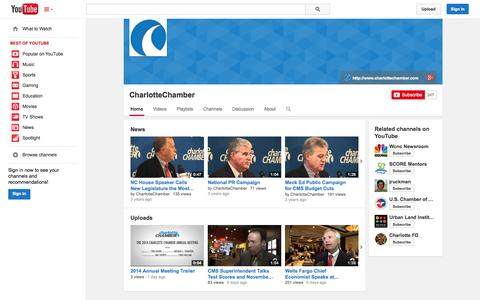 Screenshot of YouTube Page youtube.com - CharlotteChamber  - YouTube - captured Oct. 22, 2014