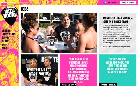 Screenshot of Jobs Page ibizarocks.com - Jobs | Ibiza Rocks Group - captured Nov. 9, 2018