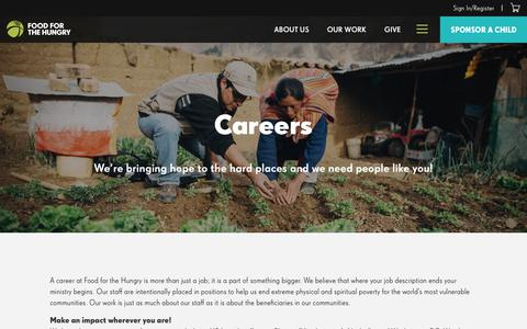 Screenshot of Jobs Page fh.org - Food for the Hungry Jobs - Open Positions - U.S. and International - Food for the Hungry - captured Oct. 6, 2019