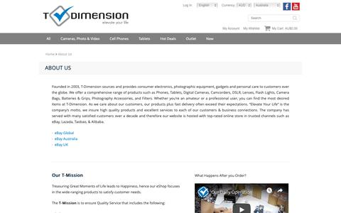Screenshot of About Page t-dimension.com - About Us Phone & Camera Shop - Best Price Online - captured Oct. 19, 2018