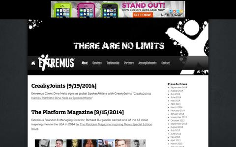 Screenshot of Press Page goextremus.com - Press   Extremus   A Global Lifestyle Company - captured Oct. 3, 2014
