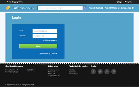 Screenshot of Login Page tafuma.co.uk - Tafuma.co.uk - Voucher Codes & Offer Deals - captured Feb. 18, 2016