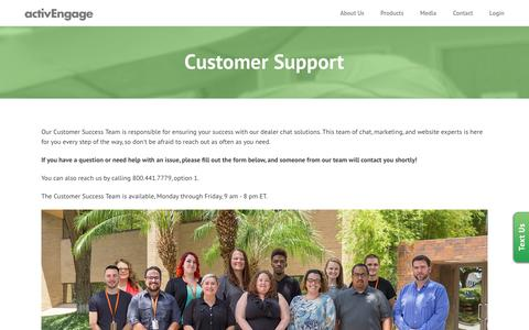 Screenshot of Support Page activengage.com - Customer Support - ActivEngage - captured Aug. 26, 2016