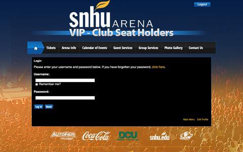 Screenshot of Login Page infinityprosports.com - SNHU Arena: Club Seat Holders - captured Nov. 17, 2018