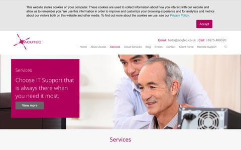 Screenshot of Services Page acutec.co.uk - IT Services in Birmingham and the Midlands - ACUTEC - captured Nov. 6, 2018