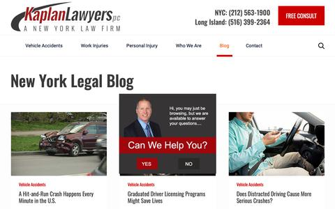 Screenshot of Blog kaplanlawyers.com - New York City Legal Blog | NY Injury Lawsuit Articles - captured Jan. 18, 2019