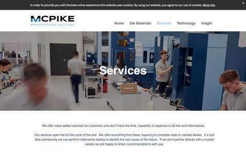Screenshot of Services Page mcpikeco.com - McPike Company & Associates:  Manufacturing Solutions - captured Nov. 15, 2018