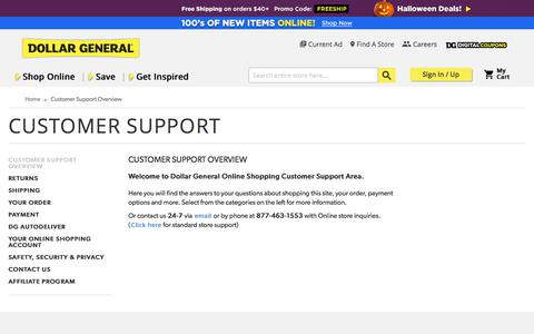 Screenshot of Support Page dollargeneral.com - Customer Support Overview - captured Oct. 8, 2017