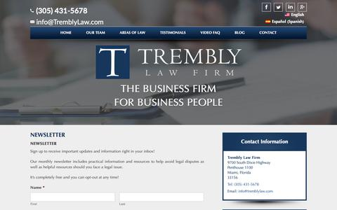 Screenshot of Signup Page tremblylaw.com - Newsletter - Trembly Law Firm - captured Oct. 20, 2018