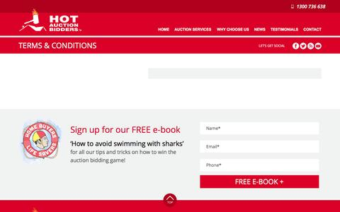 Screenshot of Terms Page hotauctionbidders.com.au - Terms & Conditions | Hot Auction Bidders - captured Dec. 12, 2015
