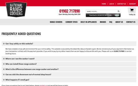 Screenshot of FAQ Page nationalrangecookers.co.uk - Frequently Asked Questions - captured July 11, 2018
