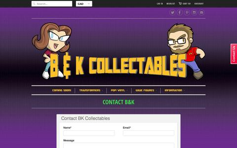 Screenshot of Contact Page bkcollectables.com - Contact B&K - B&K Collectables - captured Dec. 6, 2015