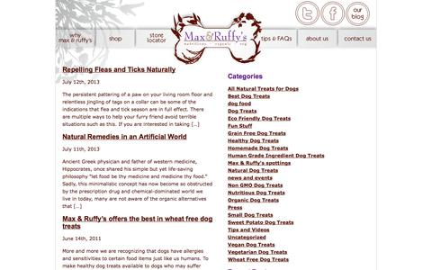Screenshot of Blog maxandruffys.com - Best Organic Natural Healthy Homemade dog treats| Wheat Free Grain dog treats| Nutritious Sweet Potato Dog Treats | Vegan Vegetarian dog treats| Human-grade ingredients dog treats| Non GMO  Eco Friendly dog treats| Small Dogs treats | All Natural Dog - captured Oct. 27, 2014