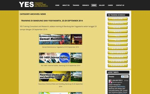 Screenshot of Press Page ptyes.co.id - News | YES Training Consultant and Research - captured Oct. 1, 2014