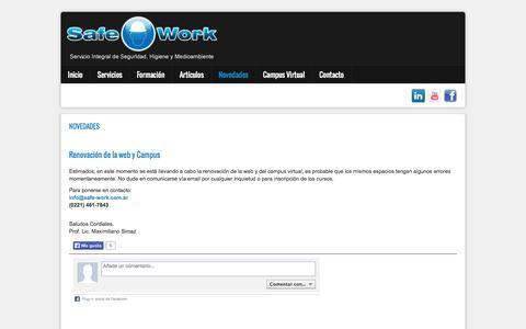 Screenshot of Press Page safe-work.com.ar - Safe-Work - Novedades - captured Sept. 30, 2014