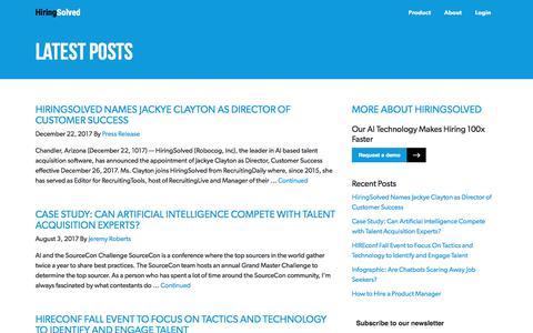 Screenshot of Blog hiringsolved.com - HiringSolved - The fastest way to find talent. - captured June 5, 2018