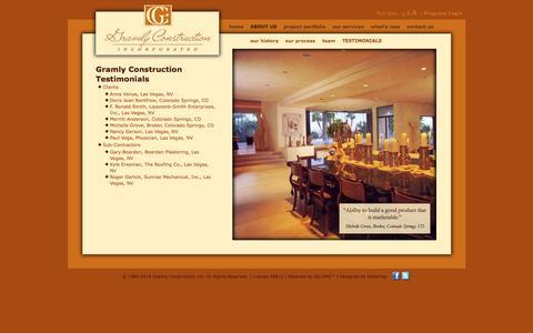 Screenshot of Testimonials Page gramlylv.com - Gramly Construction Inc.: Gramly Construction Testimonials - captured Oct. 3, 2014