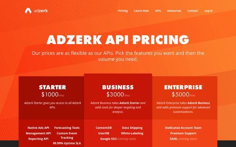 Screenshot of Pricing Page adzerk.com - Adzerk API Pricing   Build Native Ads in Weeks, Not Years - Adzerk - captured Feb. 4, 2017