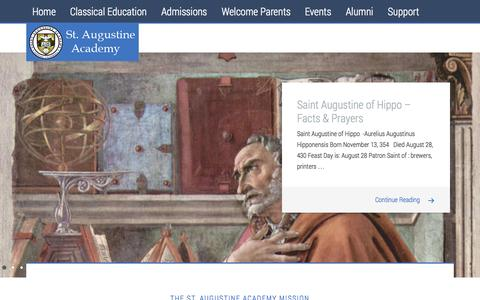 Screenshot of Home Page saintaugustineacademy.com - Saint Augustine Academy - Ventura California - captured Oct. 4, 2014