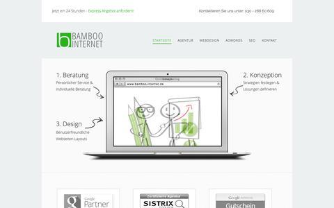 Screenshot of Home Page bamboo-internet.de - Bamboo Internet | Webdesign, SEO und Adwords Agentur Berlin - captured Oct. 5, 2014