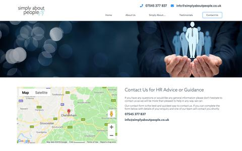 Screenshot of Contact Page simplyaboutpeople.co.uk - Contact HR Consultant, Advisor, Staff Issues, Cheltenham, Gloucestershire, Worcestershire | simply about people - captured Oct. 20, 2018