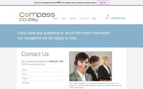 Screenshot of Contact Page compasscopay.com - compass-co-pay   Contact Us - captured July 20, 2018