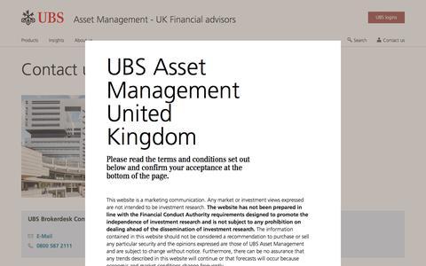 Screenshot of Contact Page ubs.com - Contact for Financial Advisors | UBS United Kingdom - captured Nov. 14, 2019