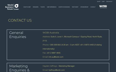 Screenshot of Contact Page wobi.com - World Business Forum Sydney 2019 |   Contact - captured Oct. 23, 2018