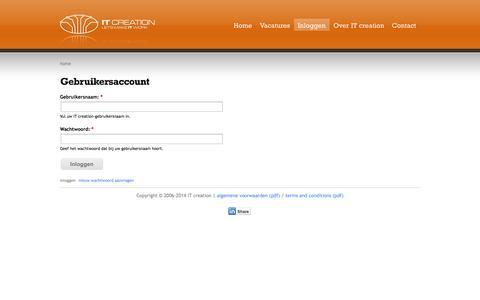 Screenshot of Login Page itcreation.nl - Gebruikersaccount | IT creation - captured Sept. 30, 2014