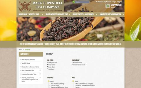 Screenshot of Site Map Page marktwendell.com - Sitemap - Mark T. Wendell Tea Company - captured Oct. 4, 2014