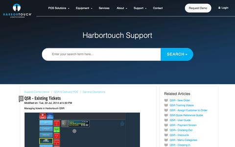 Screenshot of Support Page harbortouch.com - QSR - Existing Tickets : Harbortouch Support Center - captured Oct. 9, 2018