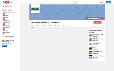 Screenshot of YouTube Page youtube.com - TwinWest Chamber of Commerce  - YouTube - captured Nov. 4, 2014