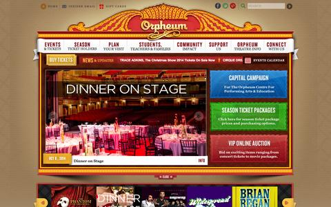 Screenshot of Home Page orpheum-memphis.com - The Official Website of The Orpheum Theatre Memphis :: The Official Website - captured Sept. 23, 2014
