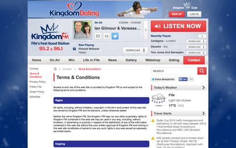 Screenshot of Terms Page kingdomfm.co.uk - Terms & Conditions | Contact - Kingdom FM - captured Sept. 30, 2014
