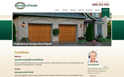 Screenshot of Locations Page garagedoorseattle.com - Locations - captured Jan. 30, 2016