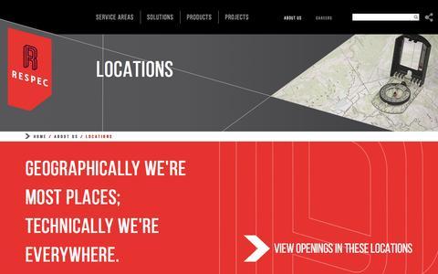Screenshot of Locations Page respec.com - Locations - RESPEC - captured Dec. 26, 2016