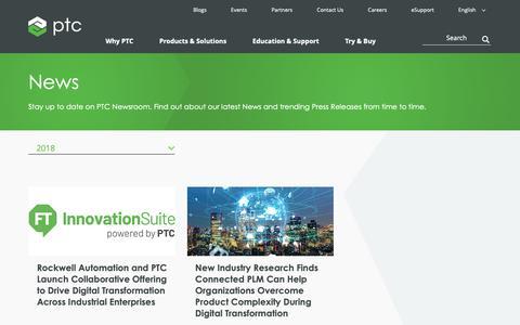Screenshot of Press Page ptc.com - News | PTC - captured Nov. 13, 2018