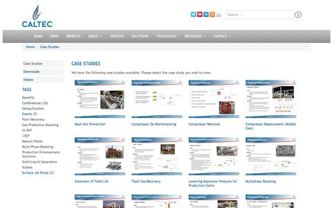 Screenshot of Case Studies Page caltec.com - Case Studies - Caltec Limited - captured July 12, 2017