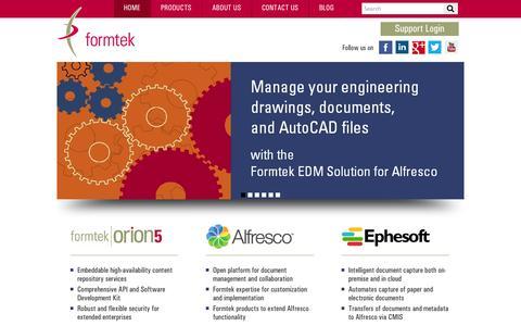 Screenshot of Home Page formtek.com - Content Management | Document Management Software and Services - captured Oct. 10, 2014