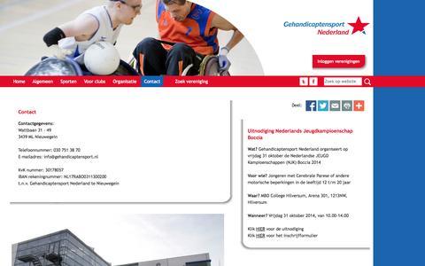 Screenshot of Contact Page gehandicaptensport.nl - Contact - Gehandicaptensport.nl - captured Oct. 2, 2014