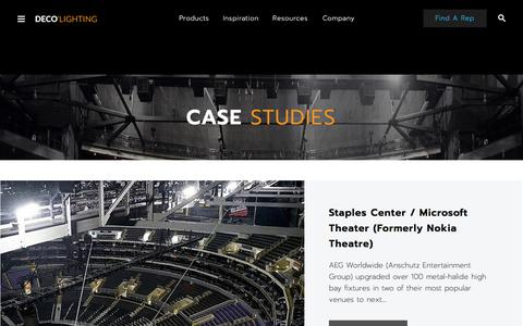 Screenshot of Case Studies Page getdeco.com - LED Lighting Case Studies - captured Nov. 27, 2017